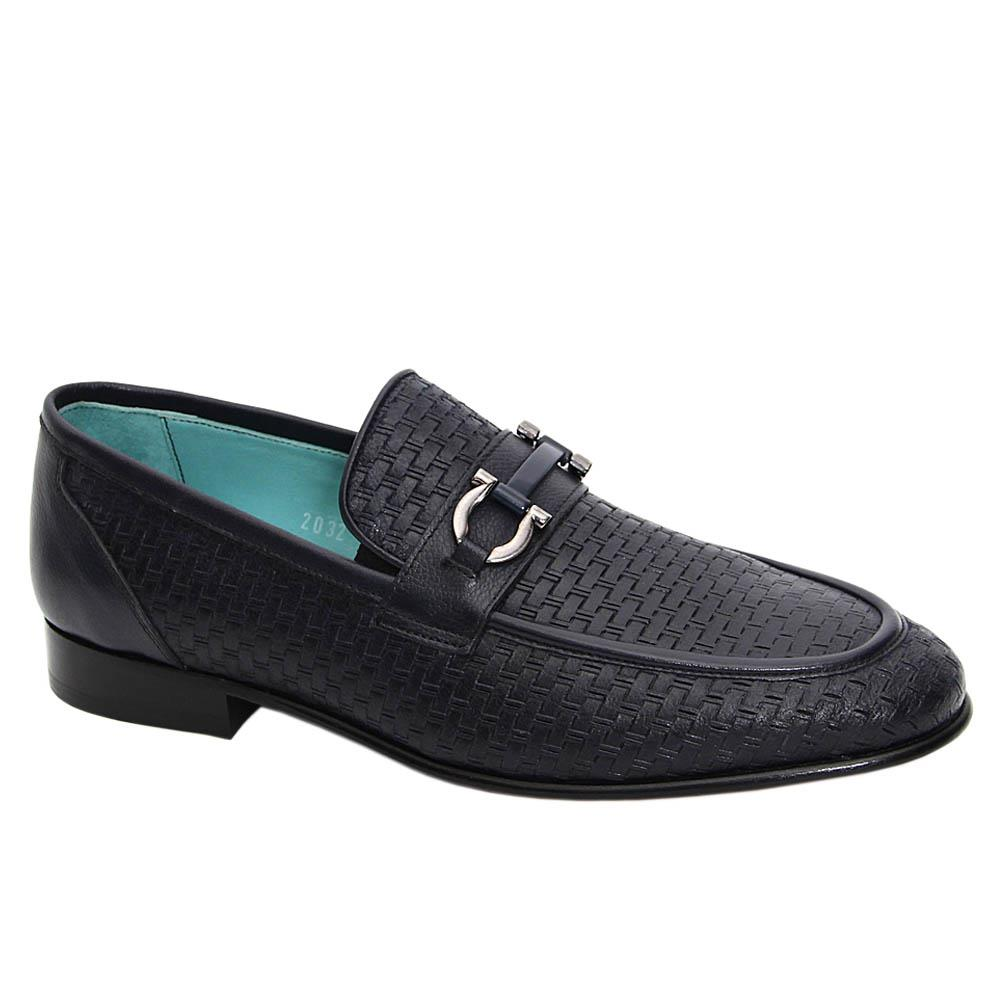 Navy Pasquale Italian Leather Loafers