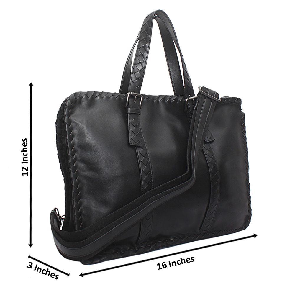 Black Woven Saffiano Leather Man Bag