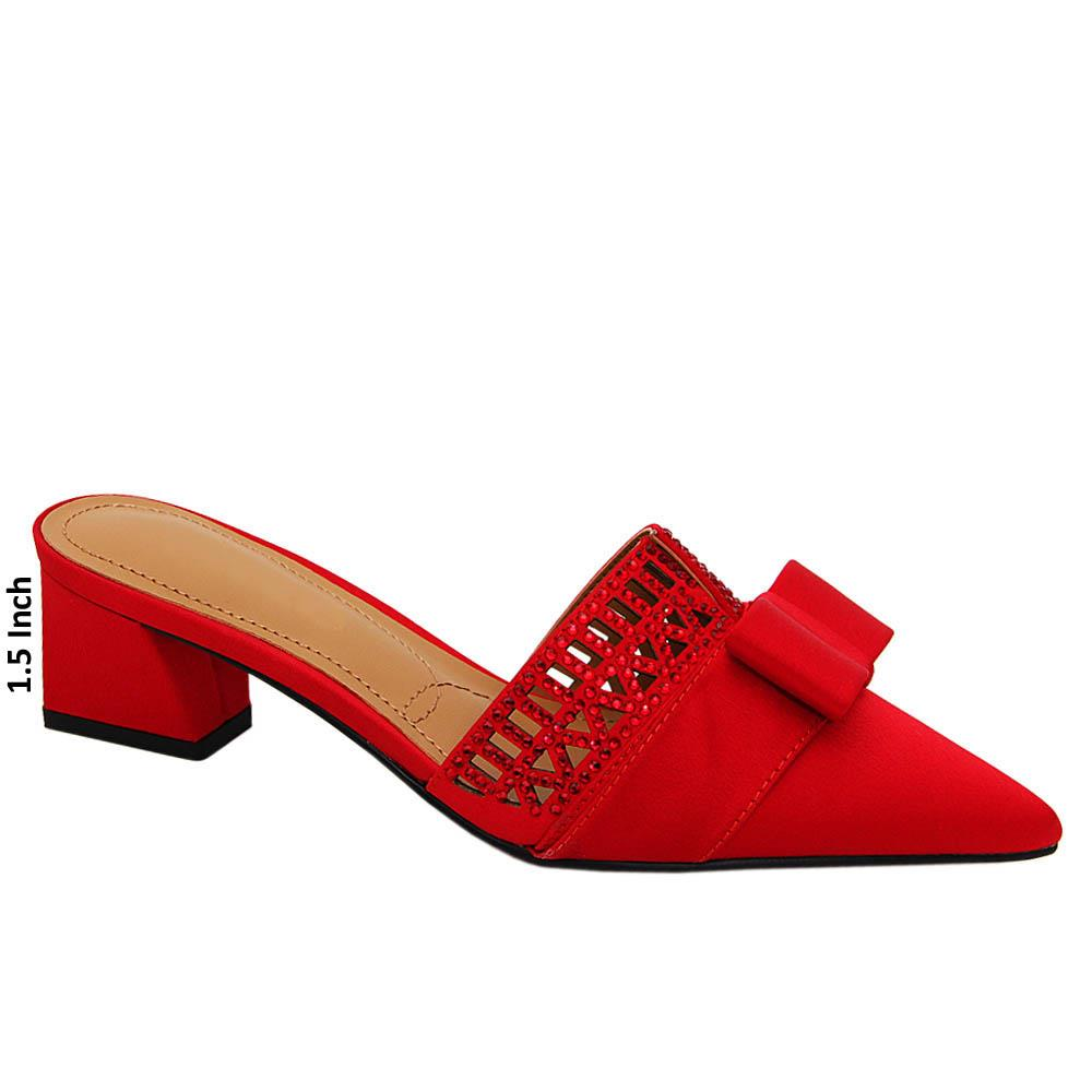 Red Leah Studded Satin Leather Low Heel Pumps