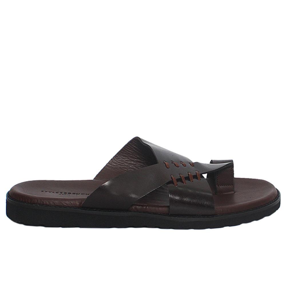 Brown Neomi Italian Leather Men Slippers