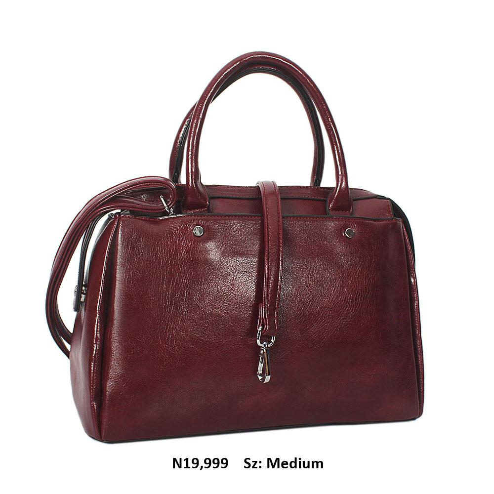 Wine Bertha Leather Tote Handbag