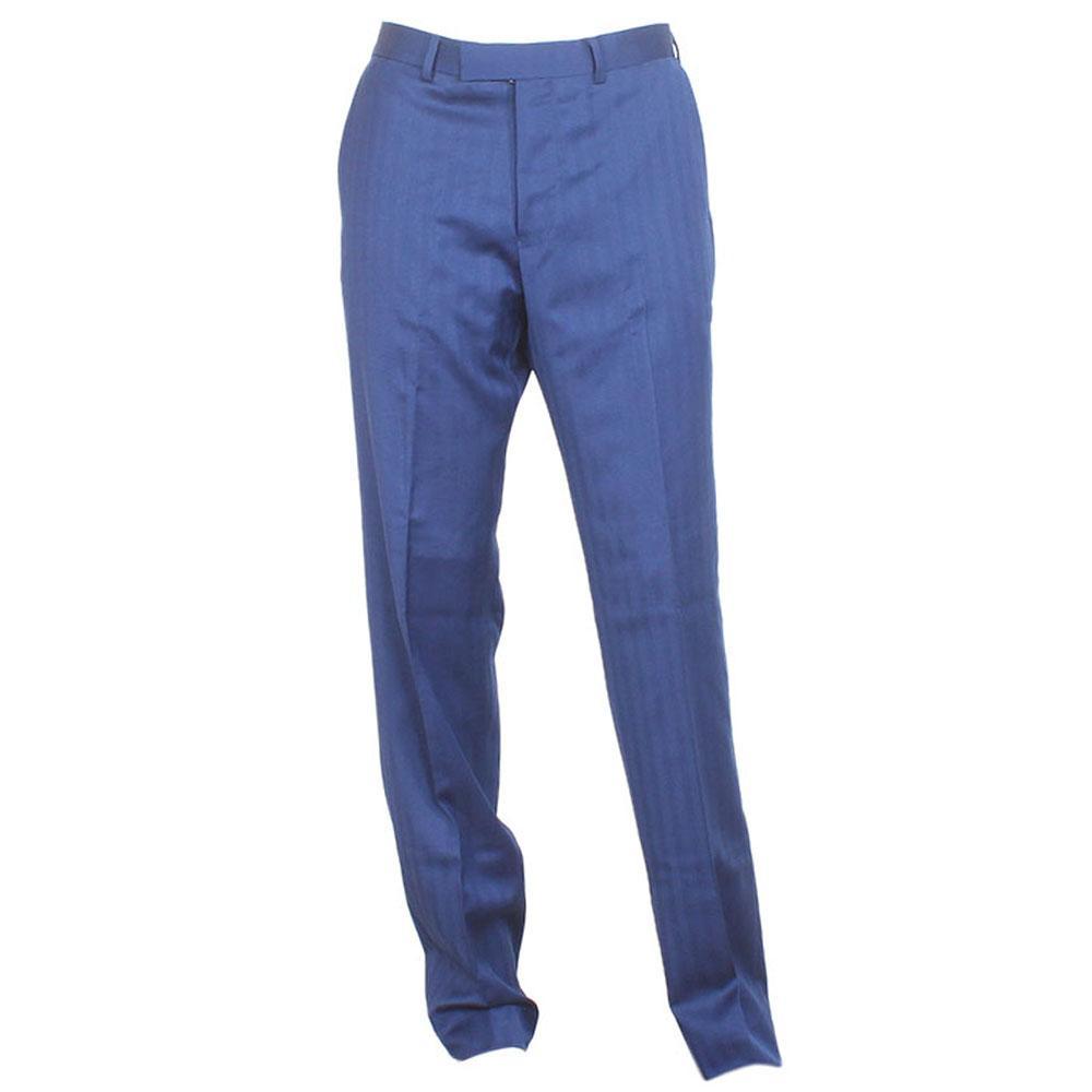 Blue Cotton Tailored Fit Men Pant W 32, L 43 Inch