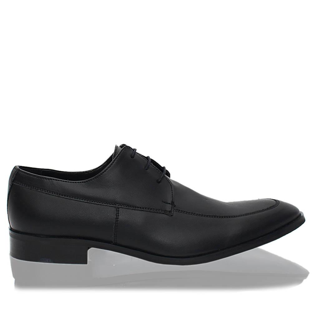 Black Leonce Italia Leather Men Derby Shoes