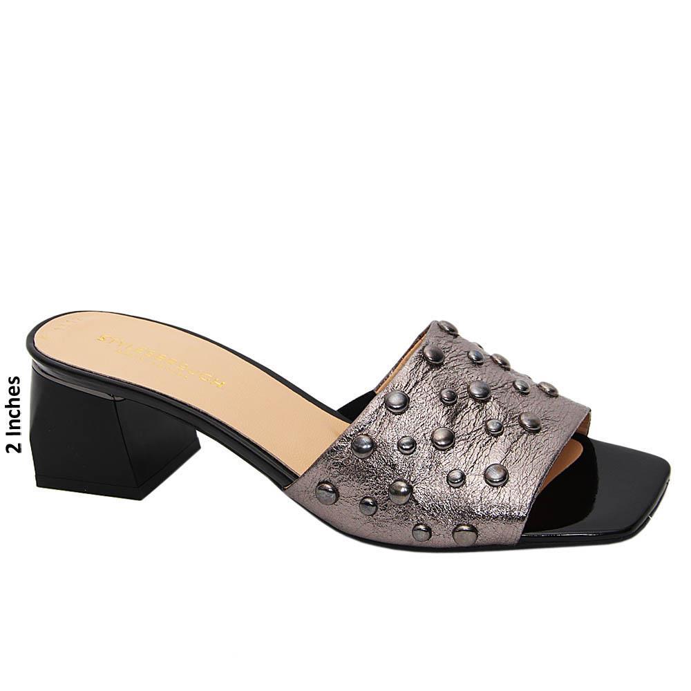 Metallic Gray Eleonora Tuscany Leather Mid Heel Mule