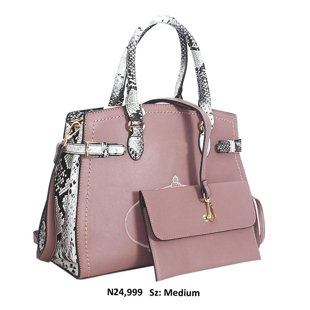 Lilac Snake Skin Style Leather Tote Handbag