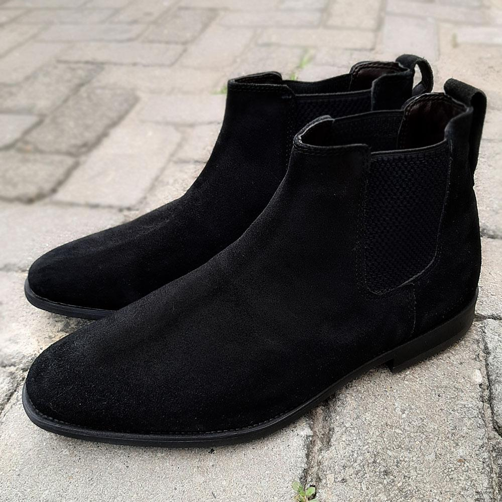 Black Suede Leather Men Chelsea Boot