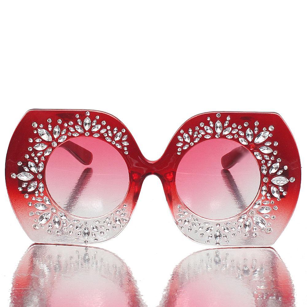 Red Studded Oversized Sunglasses