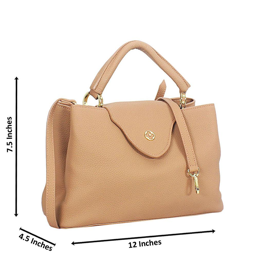 Peach Calogera Leather Top Handle Handbag