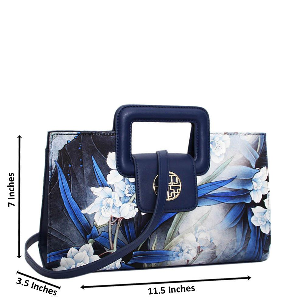 Navy Blue Antonella Floral Print Premium Leather Small Handbag