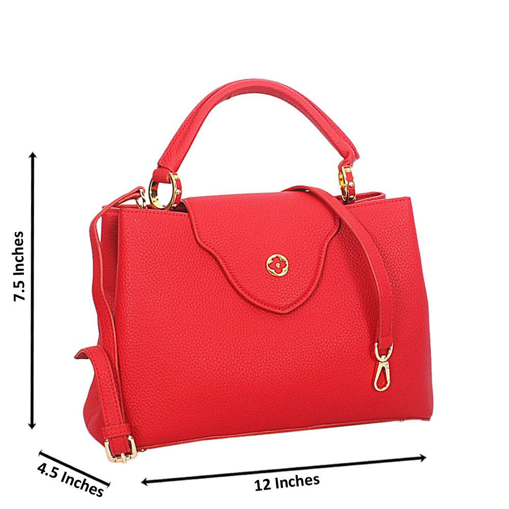 Red Calogera Leather Top Handle Handbag
