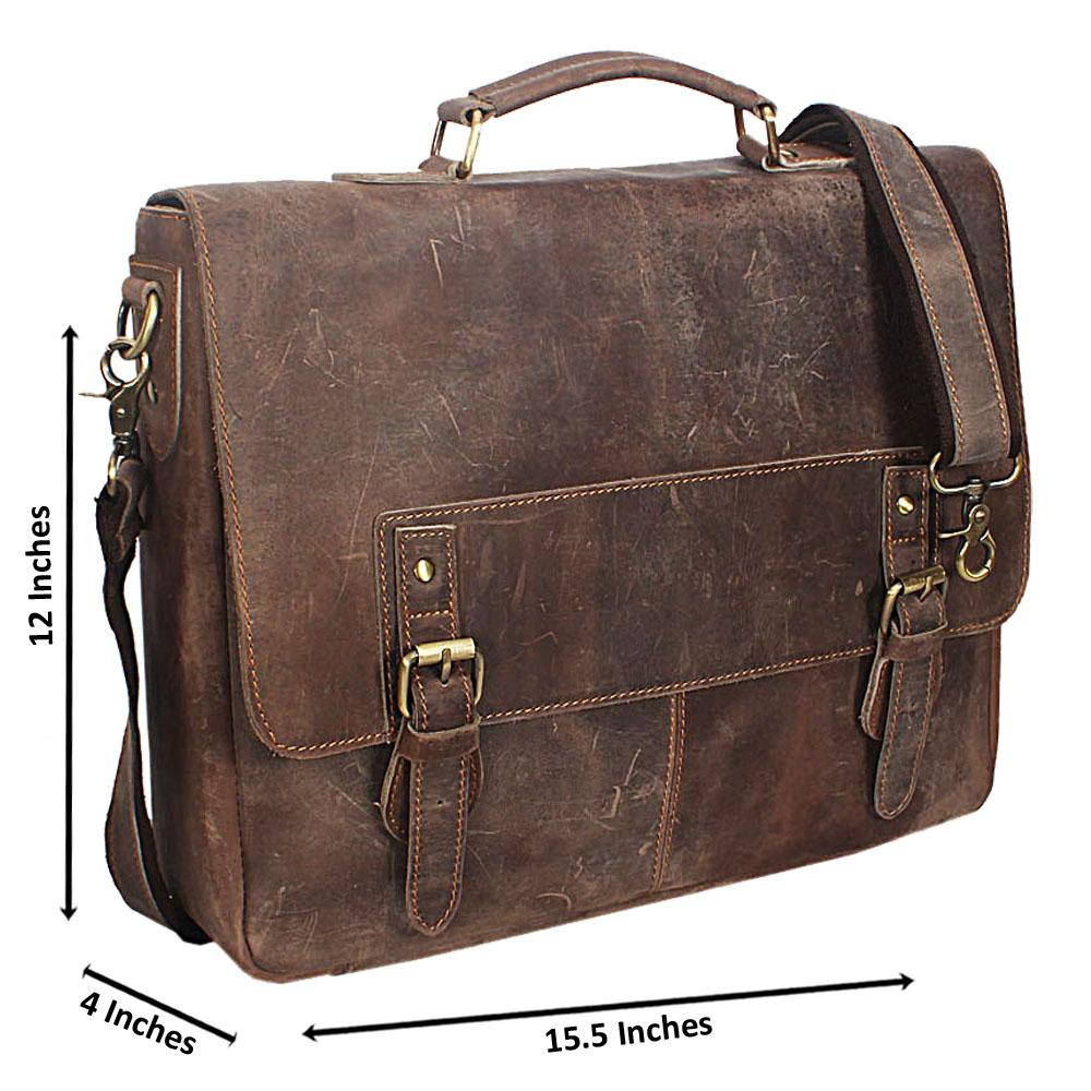 Brown Distressed Leather Leather Briefcase
