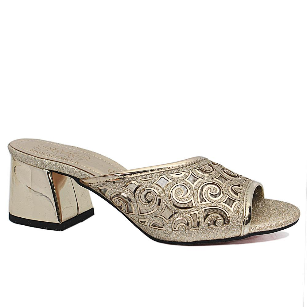 Leire Gold Open Toe Shimmering Leather Low Heel Slippers