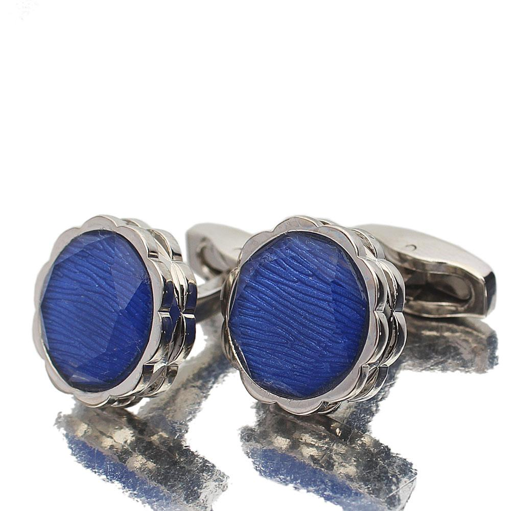 Silver Blue Pearl Stainless Steel Cufflinks