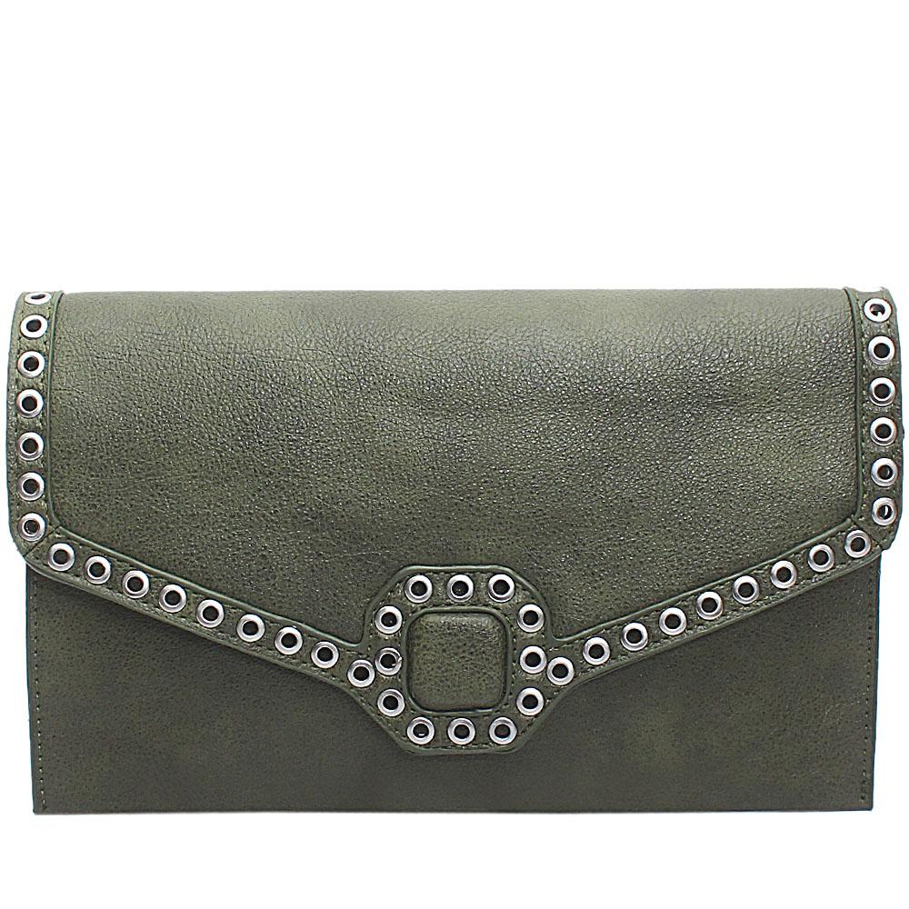 Green Leather Flat Purse