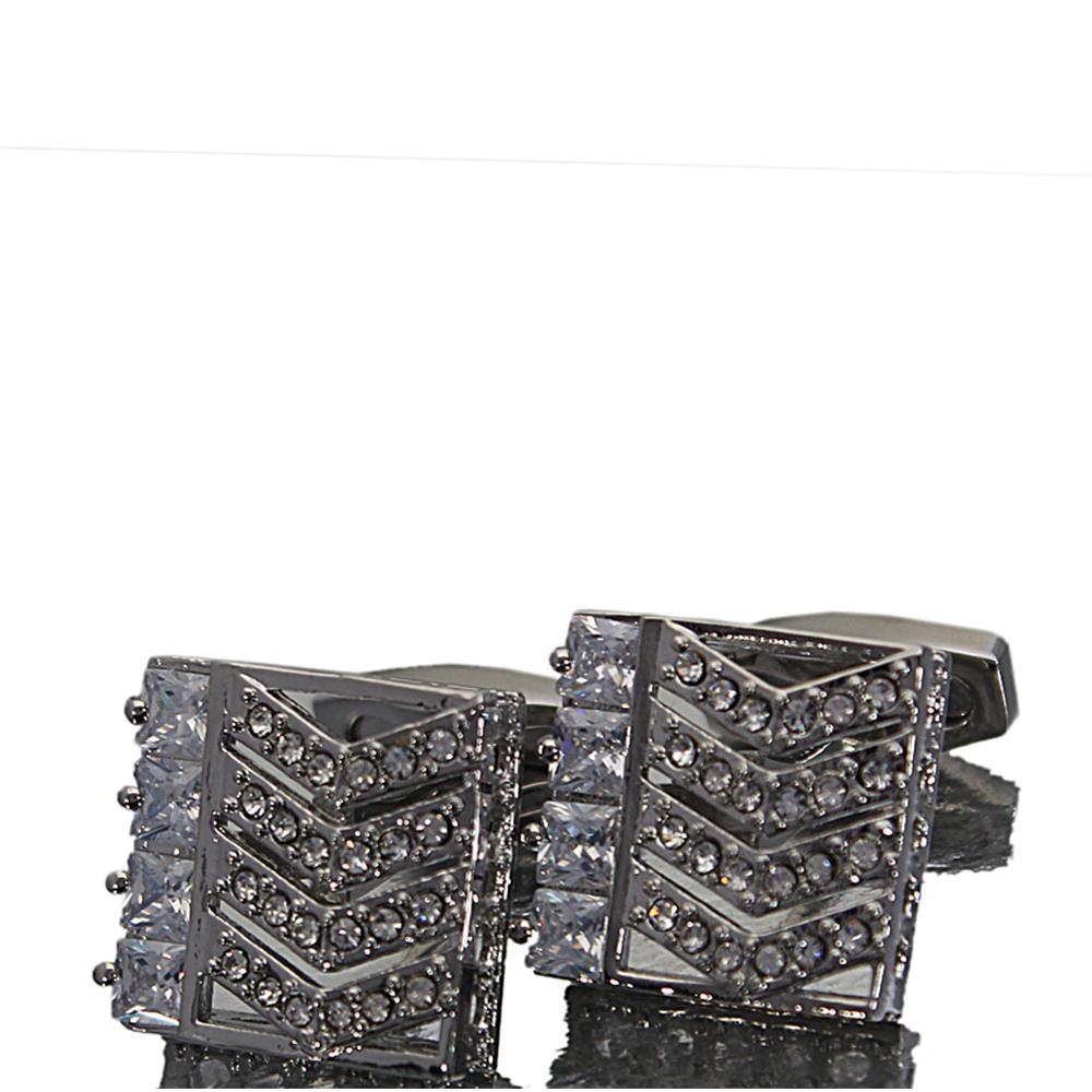 Silver Diamond Ice Studded Stainless Steel Cufflinks