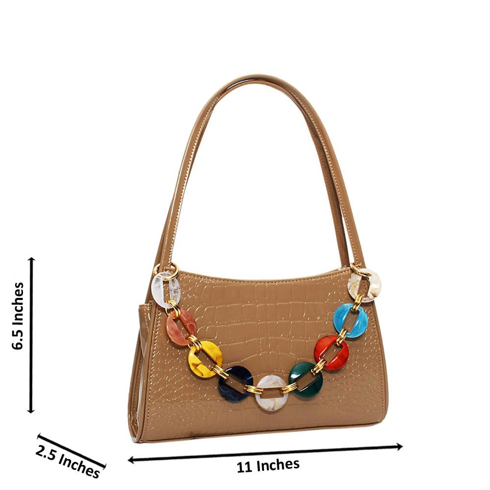 Khaki Candice Croc Patent Leather Mini Handbag