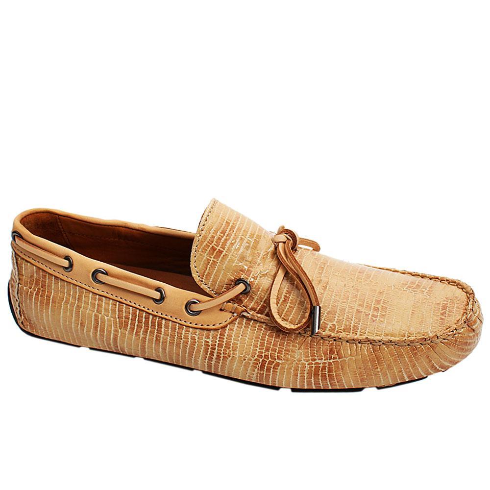 Beige Milano Patent Italian Leather Men Drivers Shoe