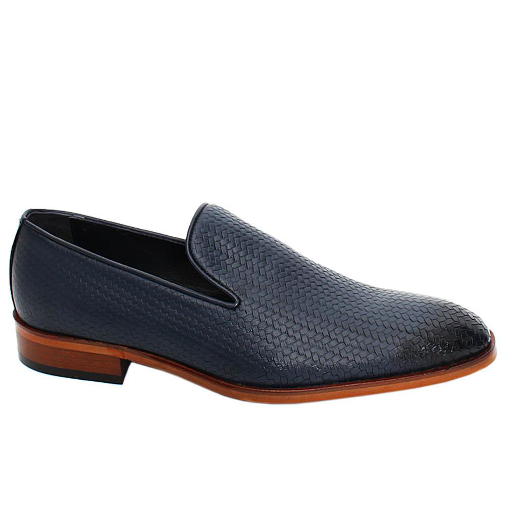 Navy Lucas Woven Styled Leather Men Penny Loafers