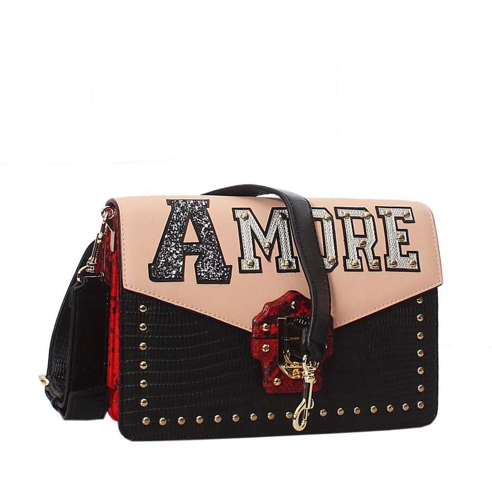 Amore Black Red Pink Saffiano Leather Handbag