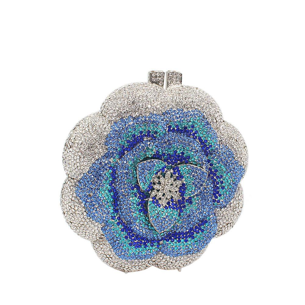 Silver Blue Circular Rose Petals Diamante Crystals Clutch Purse