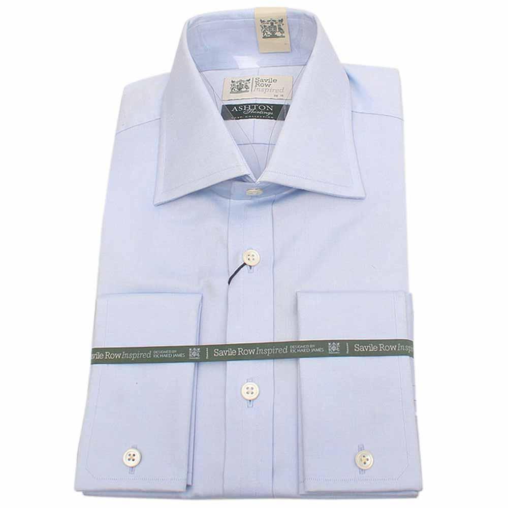 Sky Blue L Sleeve Savile Row Inspired Men Cuff Shirt Sz 15