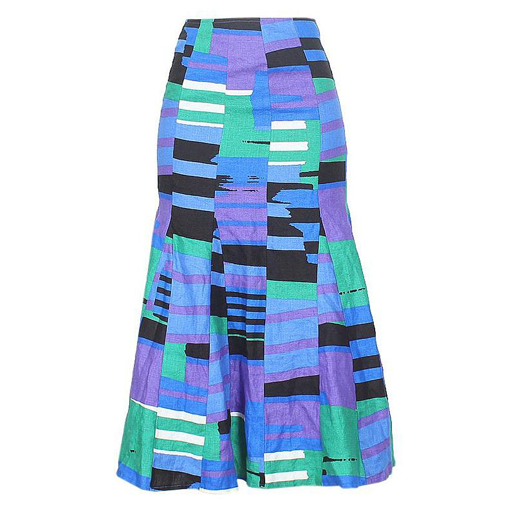Blue Green White Purple Cotton Skirt Uk 14