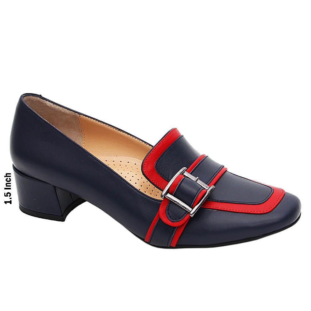 Navy Red Ella Italian Leather Block Mid Heel Pumps