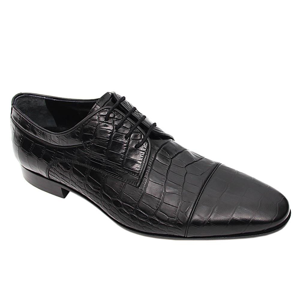 Black Diego Italian Leather Derby Shoe