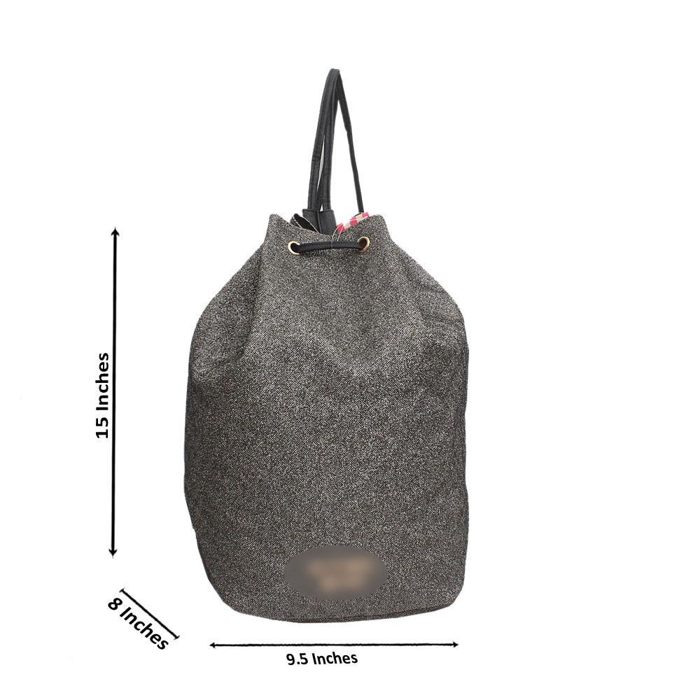VGold Black Shimmering Leather Bucket Ladies Backpack