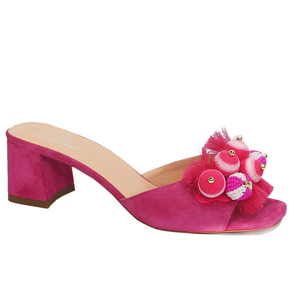 Pink Suede Leather Mule Sandals