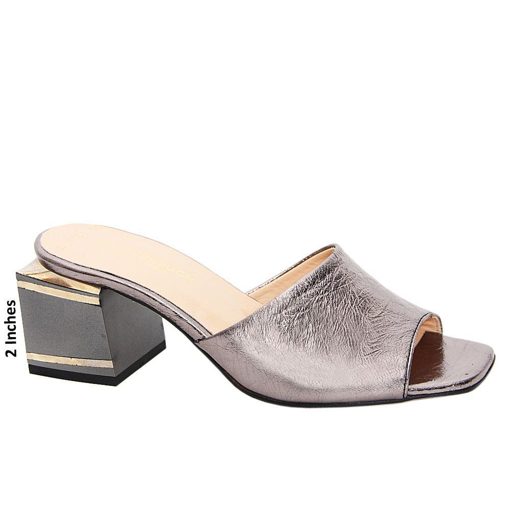 Metallic Gray Simona Patent Italian Leather Mid Heel Mule