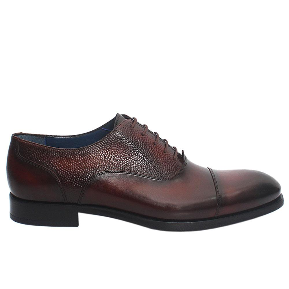 Coffee Vijital Italian Leather Men Oxford Shoes