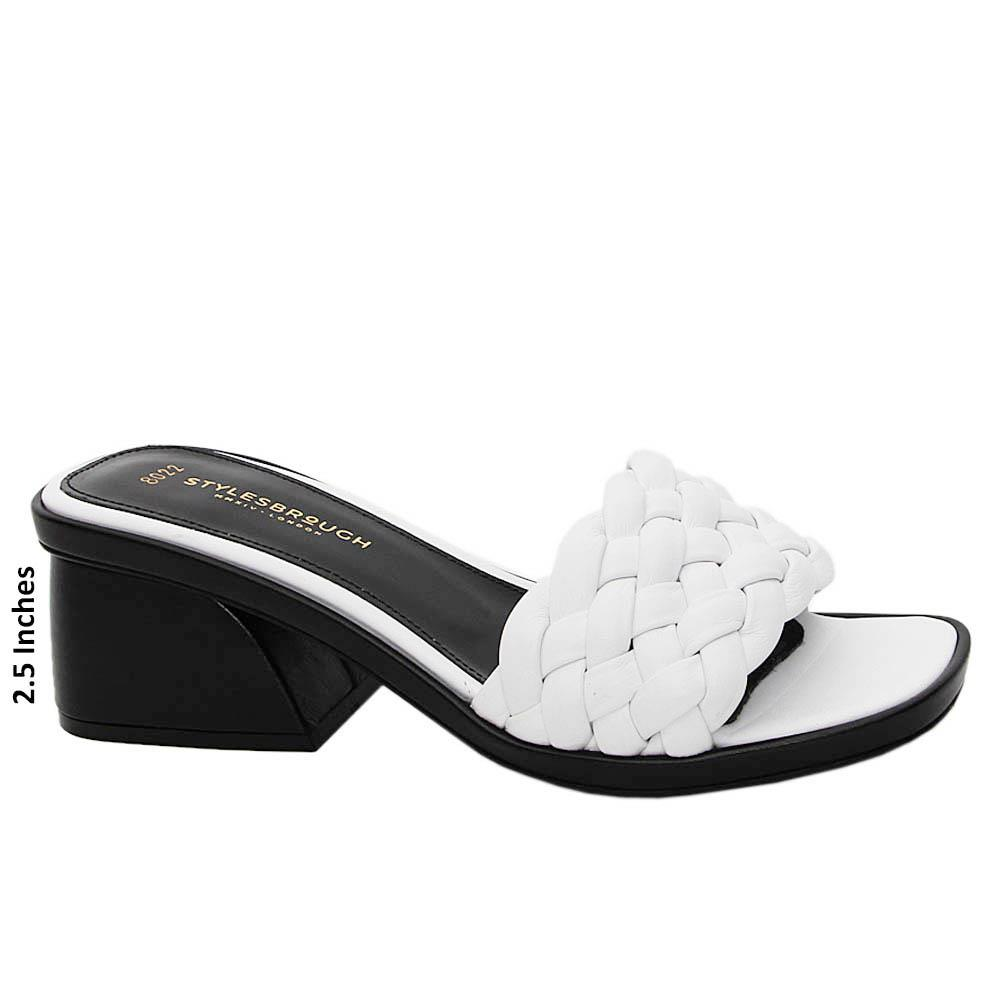 White Elisa Woven Tuscany Leather Mid Heel Mule