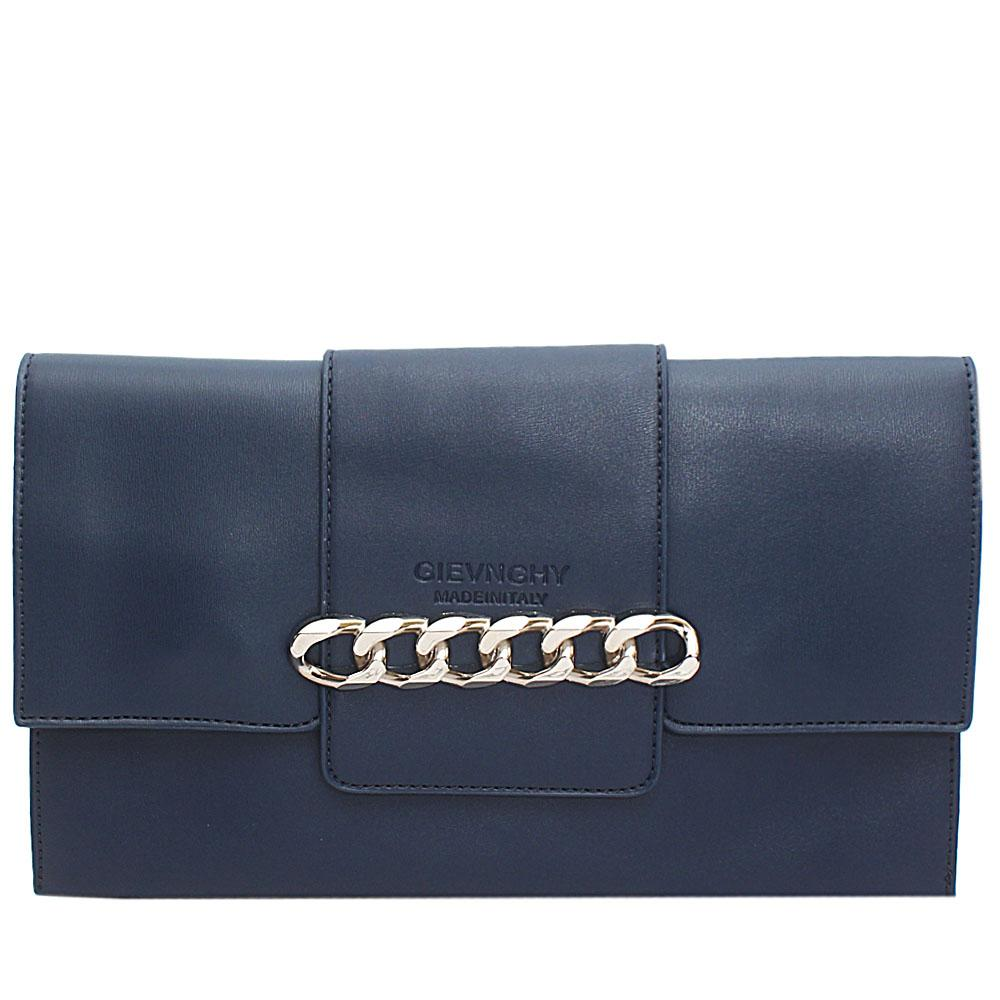 Navy Arelia Design Leather Flat Purse