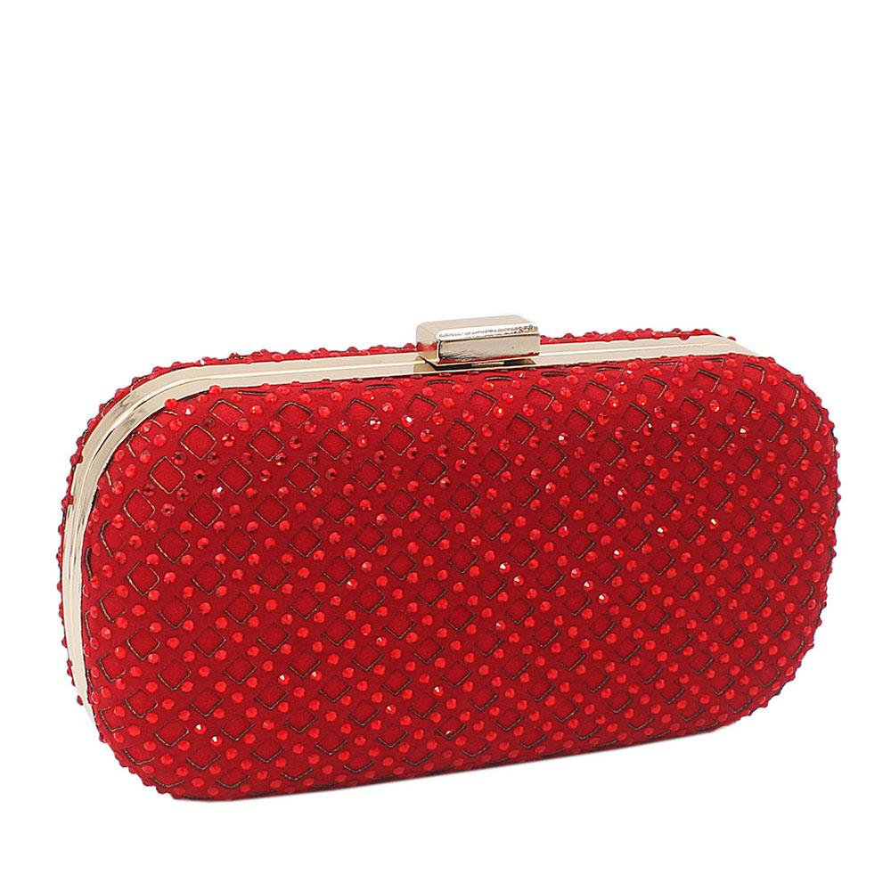 Red Davis Stone Studded Clutch Purse