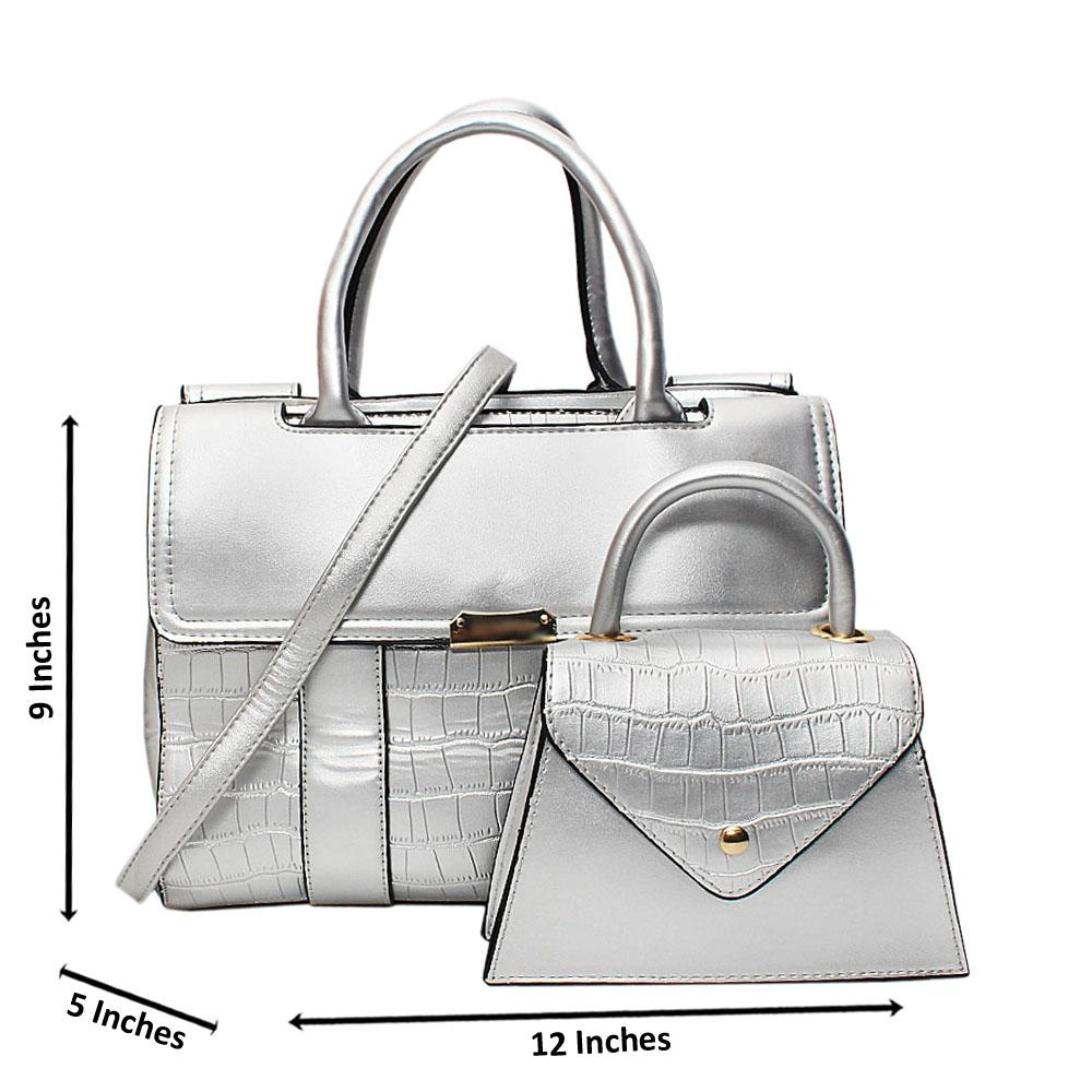 Silver Tara Croc Leather Medium 2 in 1 Tote Handbag