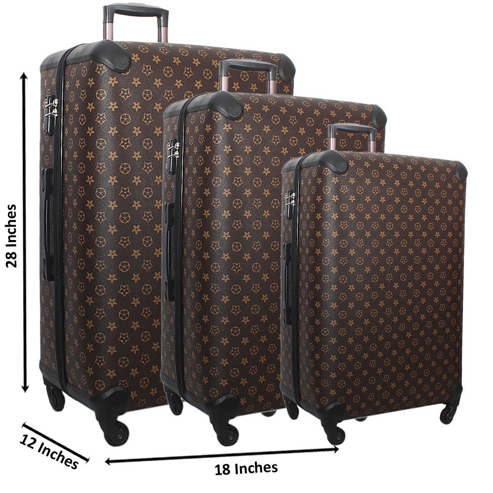 Brown 28 Wt 24 and 20 Inch 3 in 1 Leather Luggage Set Wt TSA Lock
