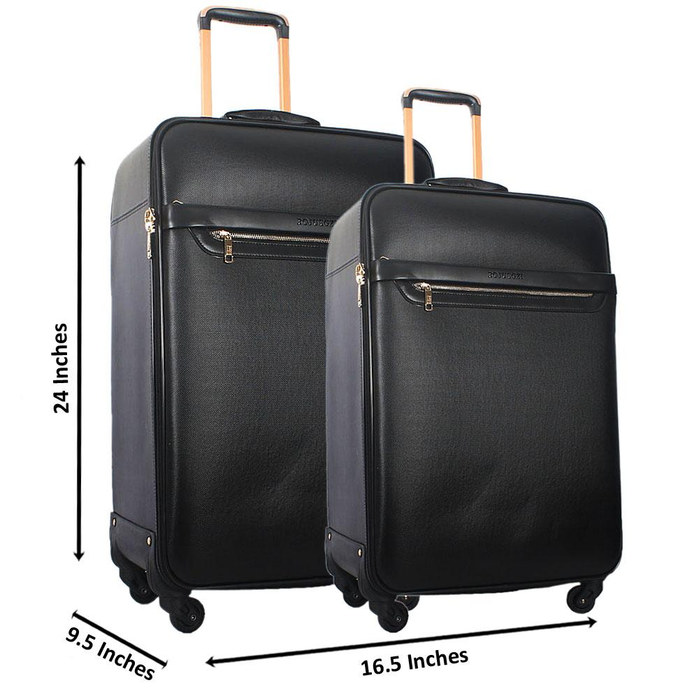 Black 24 Inch Wt 20 Inch 2 in 1 Leather Luggage Set