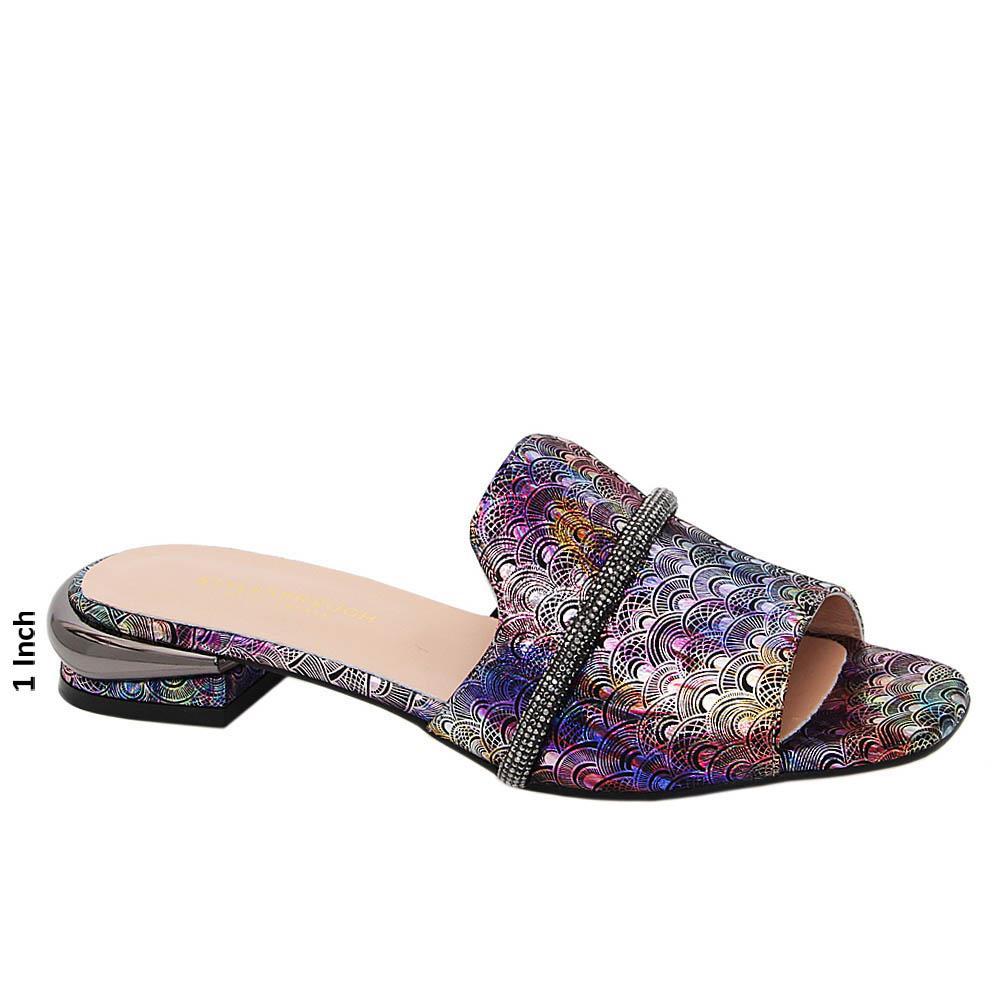 Purple Mix Kimberly Studded Tuscany Leather Low Heel Slippers