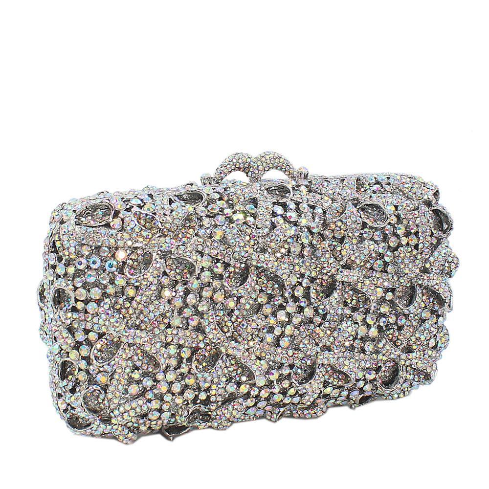 Silver Diamante Crystals Clutch Purse