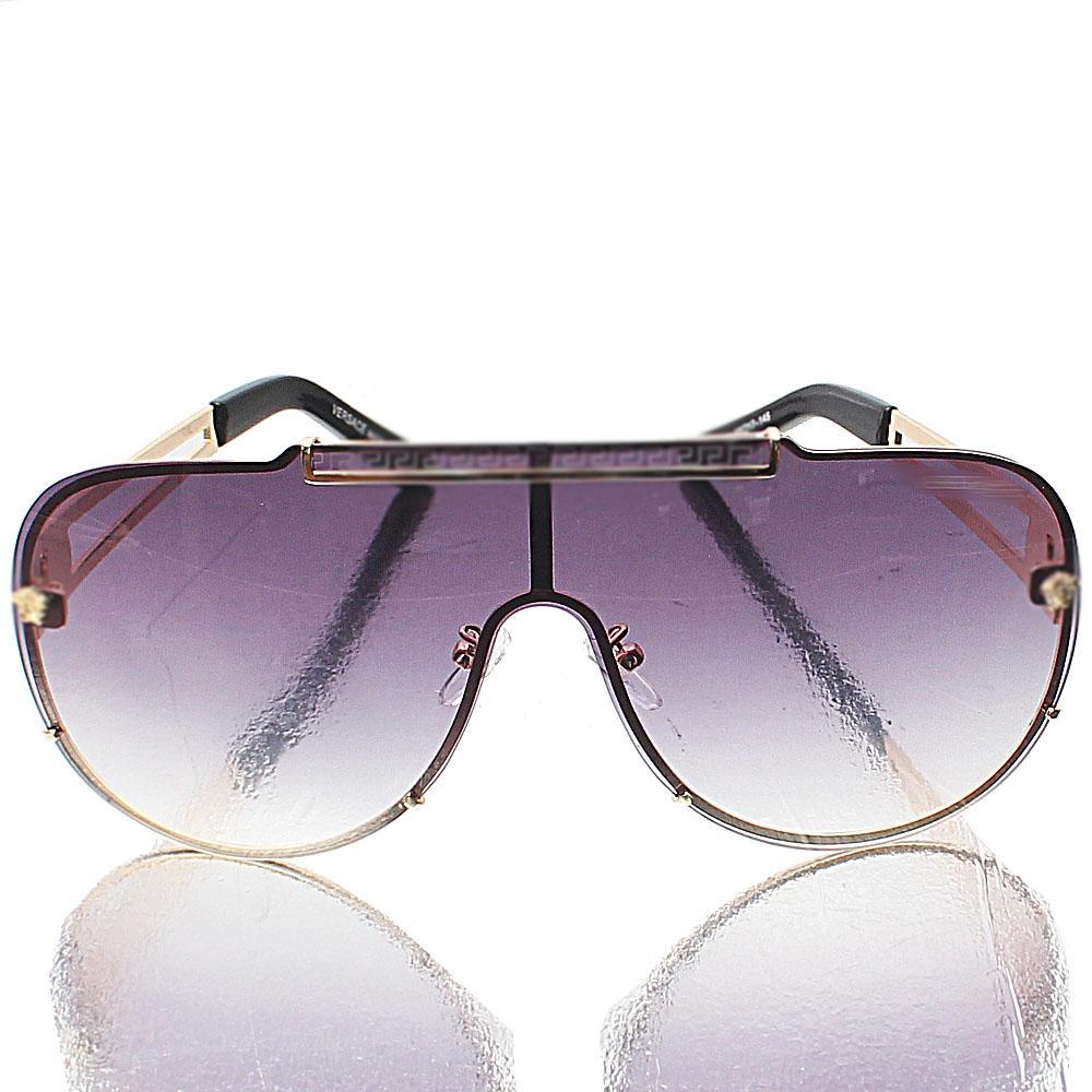 Gold Black Shield Dark Lens Sunglasses