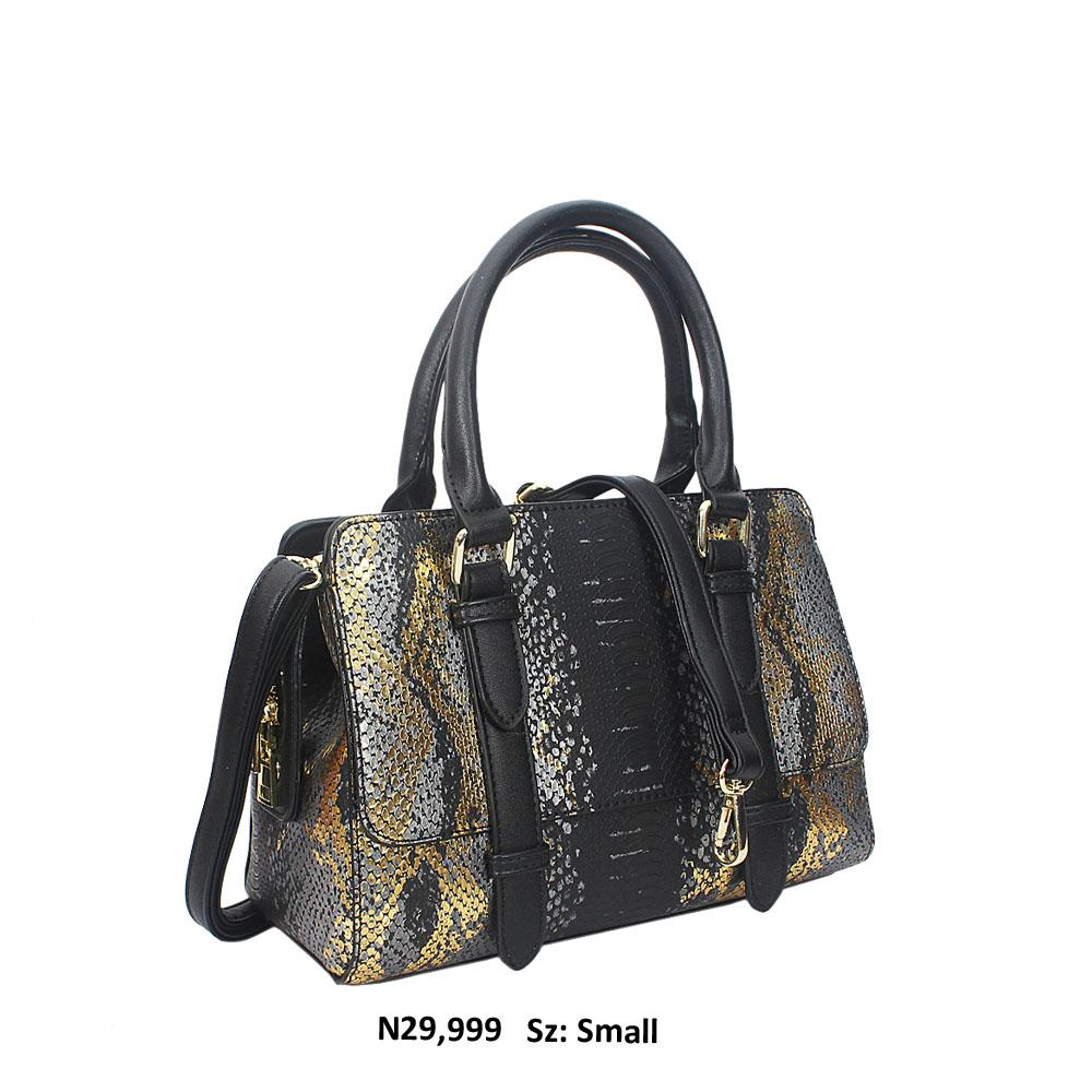 Black Nadia Gold Snakeskin Style Leather Tote Handbag