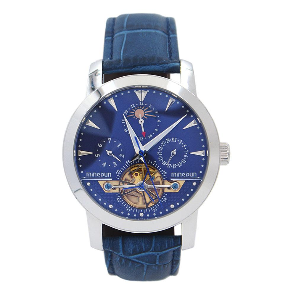 Steel Blue Leather Automatic Pilot Watch