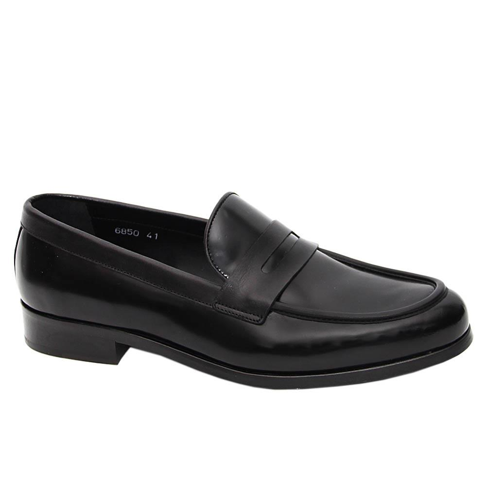 Black Giancarlo Italian Leather Penny Loafers