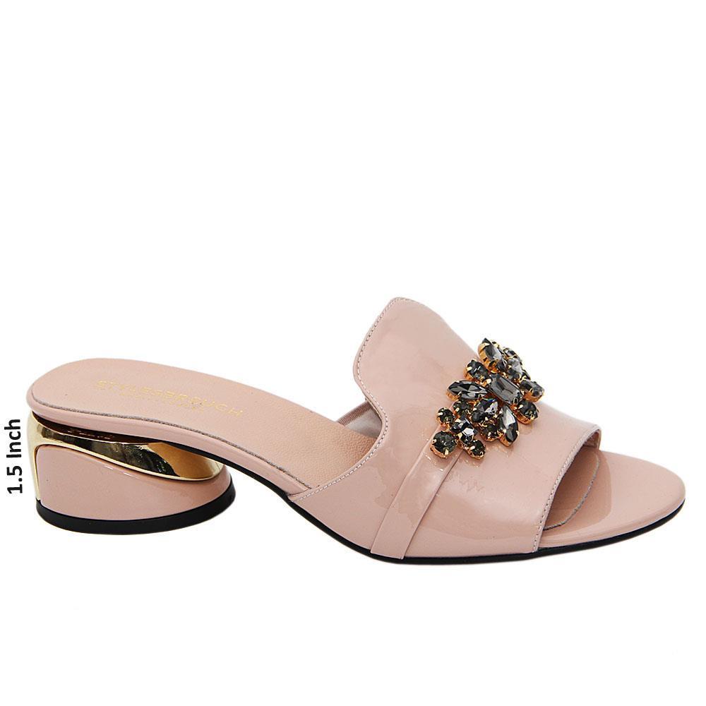 Beige Barbara Tuscany Leather Low Heel Mule