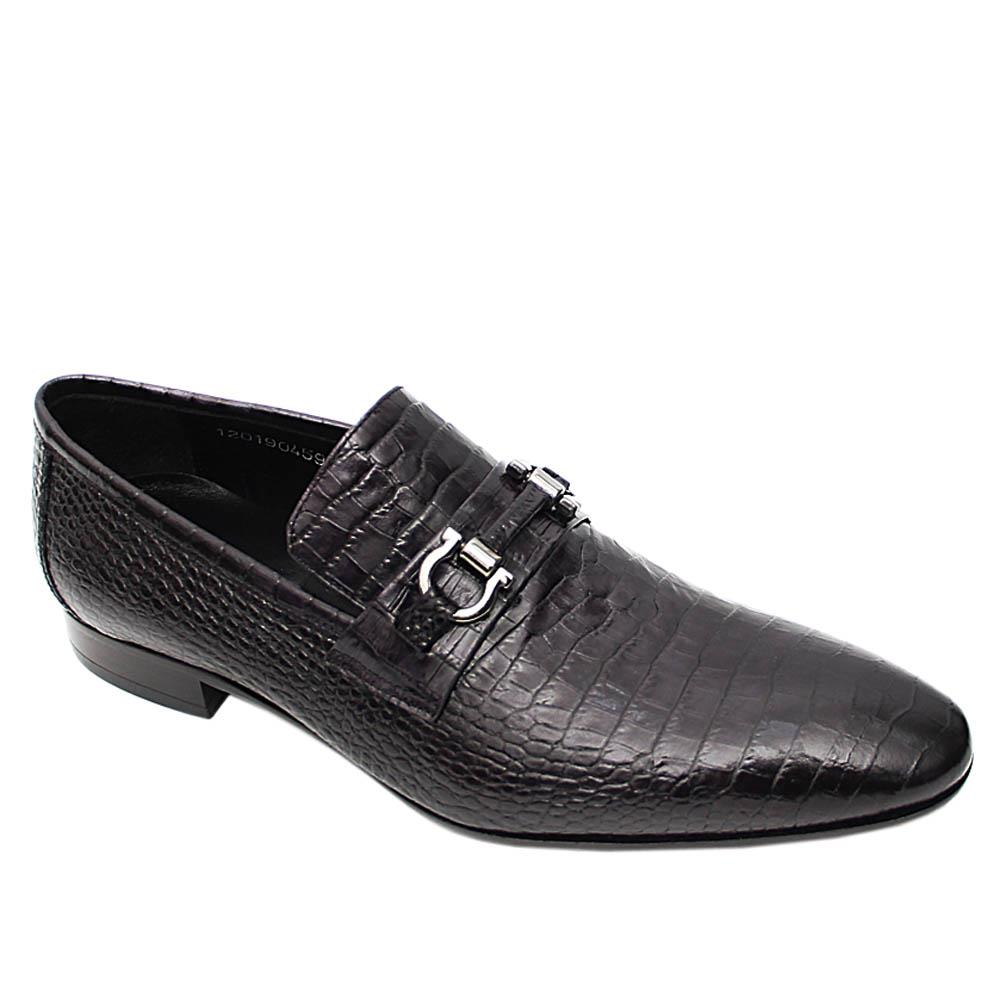 Black Gerardo Italian Leather Loafers