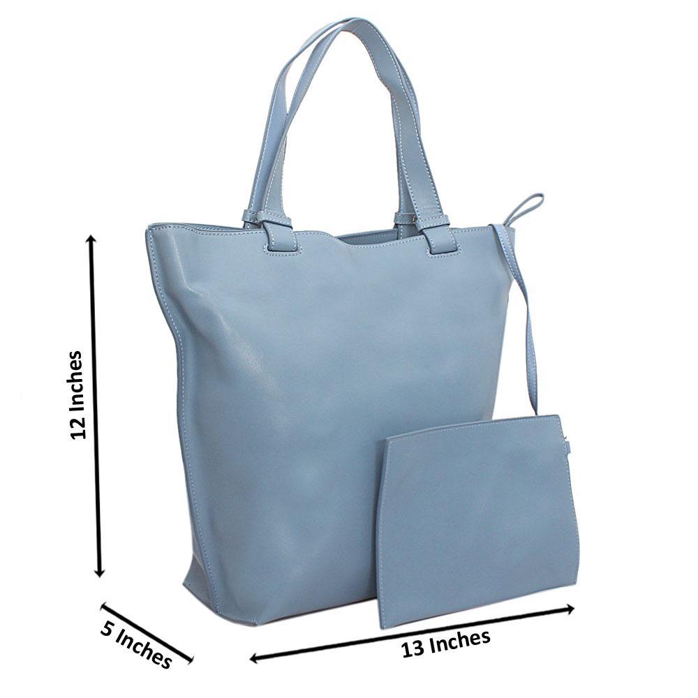 Sky-blue Florence Calfskin Leather Shoulder Handbag