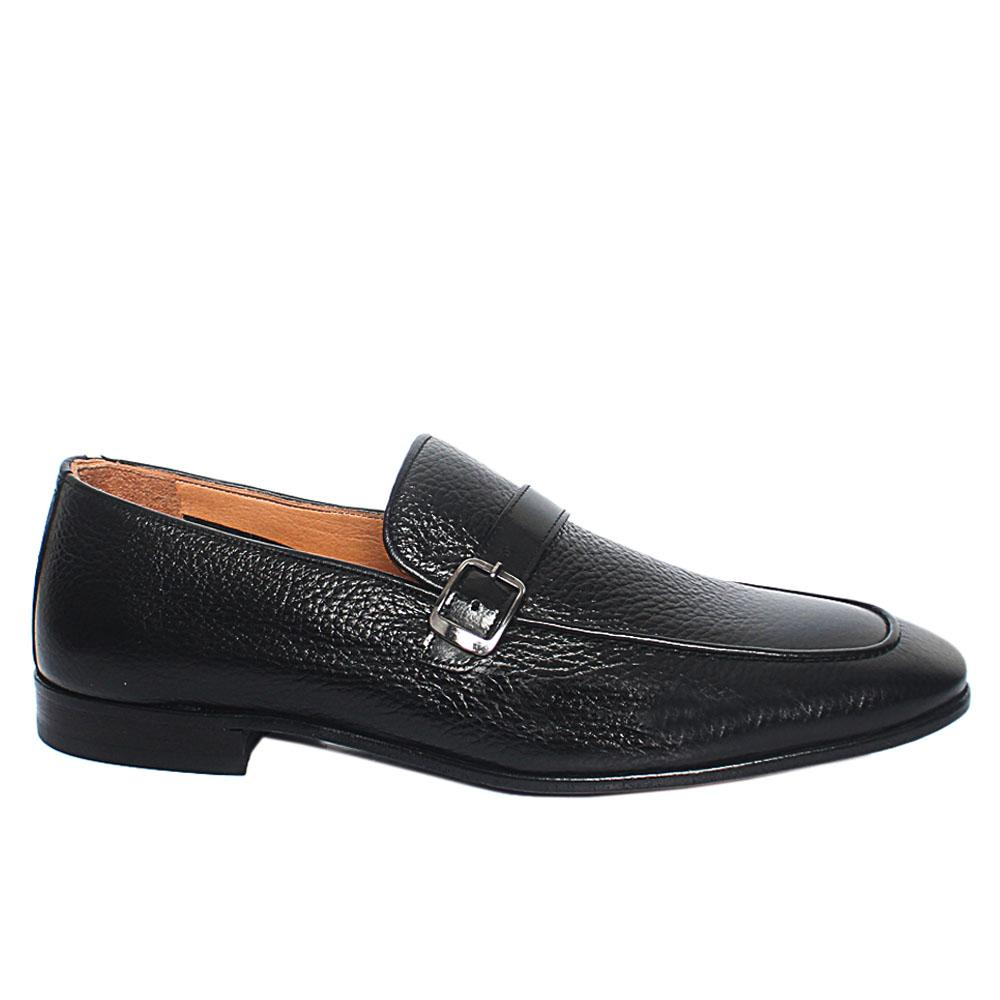 Black Zavier Italian Leather Penny Loafers