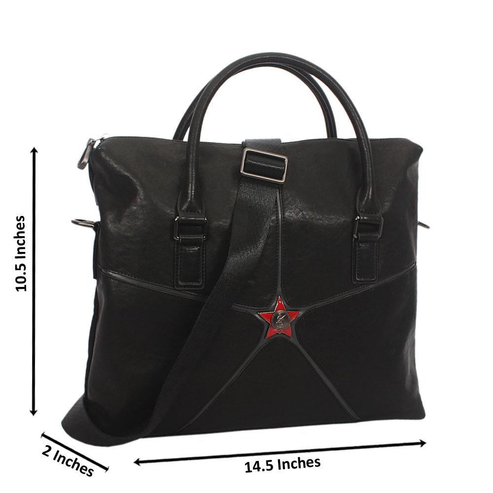 Black Star Side Leather Tote Bag