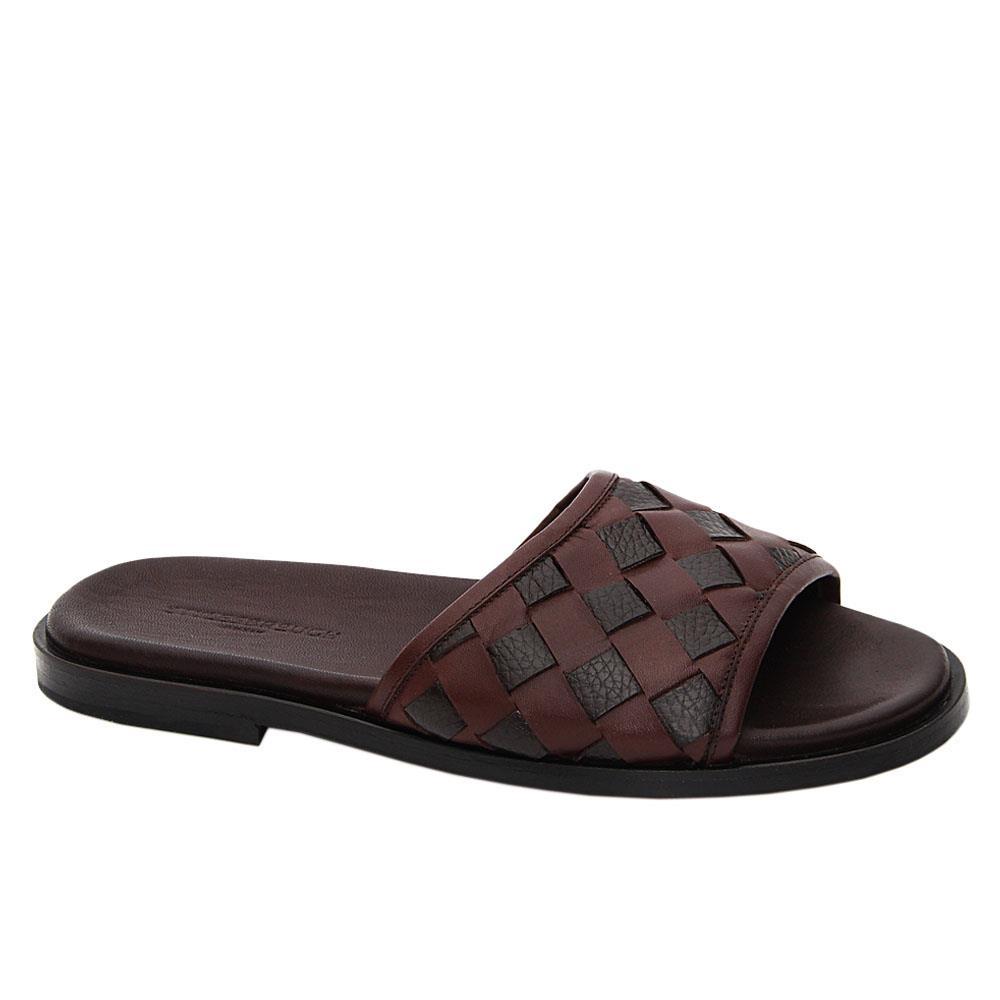Coffee Lazaro Italian Leather Slippers